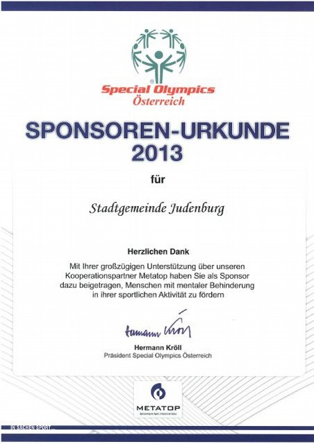 Special Olympics Sponsoren Urkunde